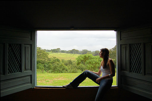 Woman looking out window without glass